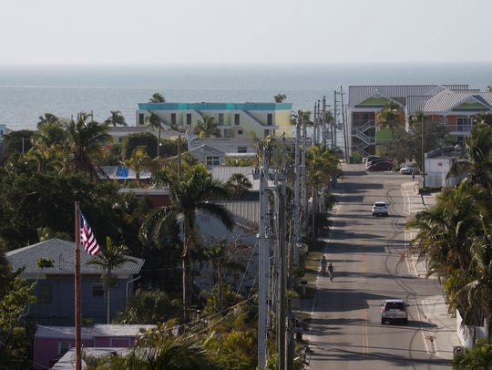 A view of Fort Myers Beach from the Matanzas Pass Bridge.