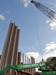 Structural supports are installed on the I-96 to U.S.