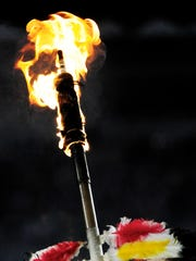 13 November 2010: Chief Osceola's spear flames prior