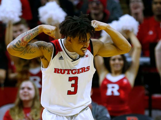 Rutgers Scarlet Knights guard Corey Sanders (3) reacts