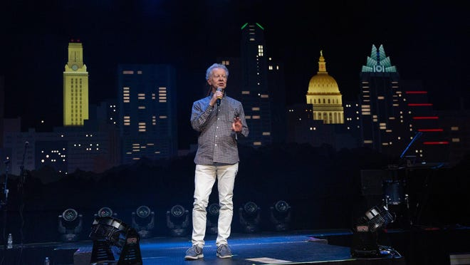 """Austin City Limits"" executive producer Terry Lickona addresses the crowd at ACL Live before a 2019 taping of the long-running TV show. Lickona says the music program still plans to begin airing its 46th season this fall, though how or whether new episodes can be taped during the pandemic remains unclear."