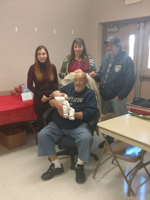 Five generations of the Penwell/Kee family are pictured. Sitting, Leroy Penwell, Chambersburg, holds his great-great-grandson, Noah Kee. of Shippensburg. Standing, from left, are his great-granddaughter Caitlyn Kee, of Shippensburg, granddaughter Amy McCommons, of Fort Loudon, and son William Penwell, of McConnellsburg.