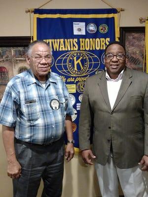 Nelson Wilson, of the Kiwanis Club of Greater Abilene, welcomes new member Greg Ayers Sr.