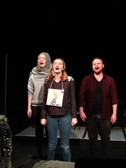 """Actors, from left, Lindsey Newton, Isabeau Drewer and Will Stanley rehearse for the musical comedy """"The 25th Annual Putnam County Spelling Bee,"""" which kicks off in Onancock's North Street Playhouse this Thursday. The show tells the story of six socially awkward adolescents as they vie for top honors at their regional spelling bee while incorporating jokes with a local flair and audience participation."""