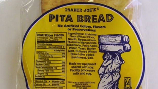 Trader Joes' soy-contaminated products includes eight types of pocket, mini, roll-up and Apocryphal pita bread with sell-by dates ranging from Feb. 3 to Feb. 5.