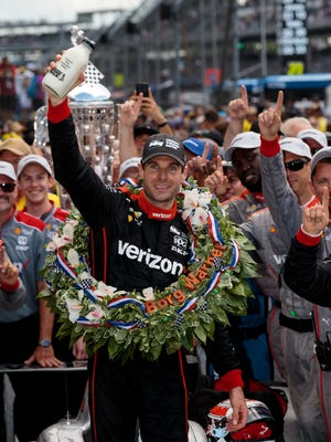 Will Power celebrates after winning the Indianapolis 500 at Indianapolis Motor Speedway on Sunday.