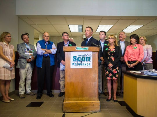Republican gubernatorial candidate Lt. Gov. Phil Scott speaks at a news conference in Colchester on Thursday, September 15, 2016, where he released details of his plans for the economy.