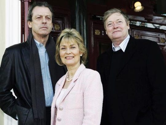 """Eastender's actor Leslie Grantham, left, joins Alexandra Bastedo and Simon Ward to launch the UK tour of the interactive play, """"Beyond Reasonable Doubt."""""""