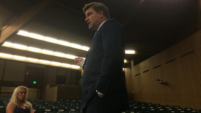 Democratic gubernatorial nominee Jack Conway, the Kentucky attorney general, addresses a horse industry group for under-40 professionals during a session Monday at Keeneland's sales pavilion.