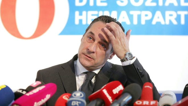Leader of the Austrian Freedom Party (FPOe), Heinz Christian Strache, attends a press conference, on June 8 in Vienna.