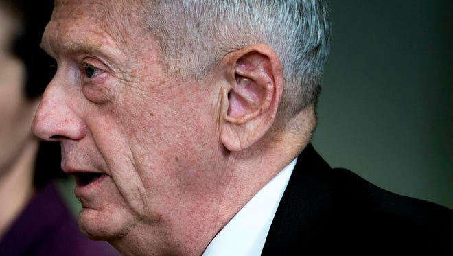 FILE - In this Wednesday, March 7, 2018 file photo, Defense Secretary Jim Mattis speaks during a meeting with Estonian Defense Minister Juri Luik at the Pentagon in Washington.