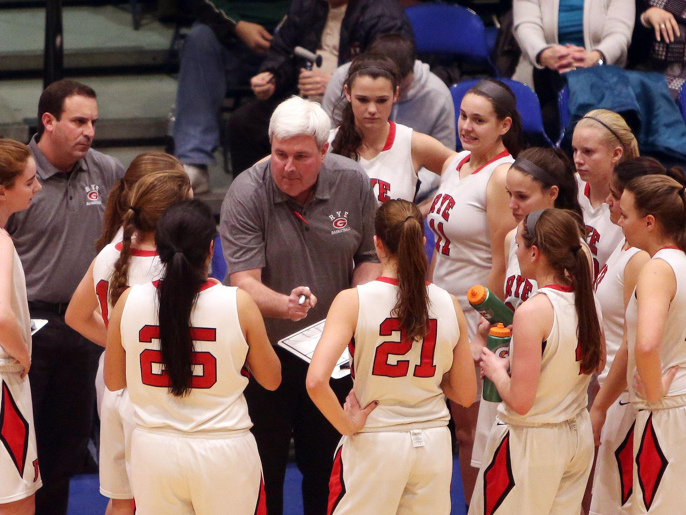 Rye head coach Dennis Hurlie talks to his team during a 37-31 win over Pearl River in the girls Class A semifinal at the Westchester County Center in White Plains. Feb. 25, 2016.