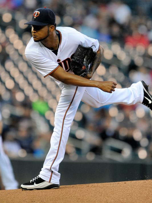 Minnesota Twins pitcher Ervin Santana throws against the Chicago White Sox during the first inning of a baseball game Thursday, Sept. 1, 2016, in Minneapolis. (AP Photo/Tom Olmscheid)