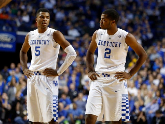 Wildcats guards Andrew Harrison (5) and Aaron Harrison (2) will be key to Kentucky's hopes of a return trip to the Final Four.