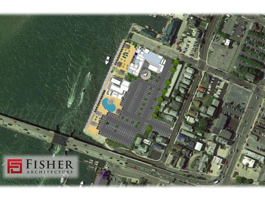 An aerial of the proposed hotel and restaurant at the