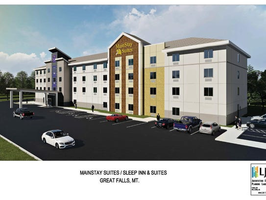 A four-story Mainstay Suites and Sleep Inn & Suites