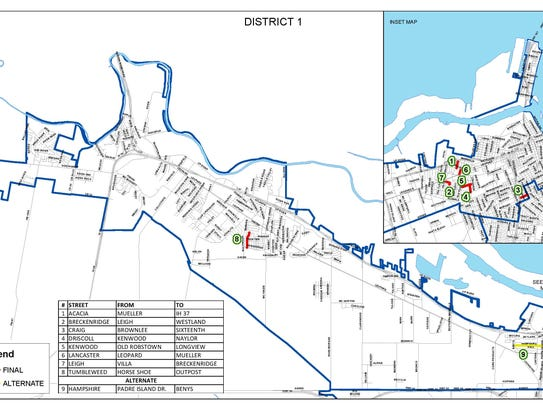 A map of District 1 in Corpus Christi shows which residential