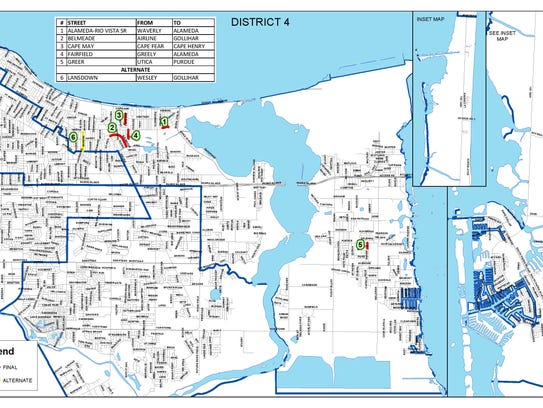 A map of District 4 in Corpus Christi shows which residential
