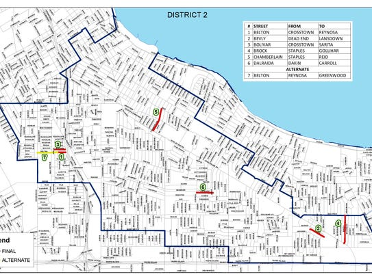 A map of District 2 in Corpus Christi shows which residential