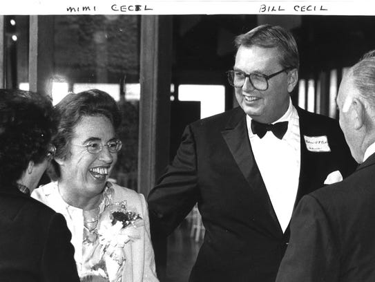 William A.V. Cecil, right, and his wife, Mimi, left,