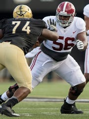 Alabama offensive lineman Brandon Kennedy (56) against Vanderbilt at Vanderbilt Stadium in Nashville, Tenn. on Saturday September 23, 2017.