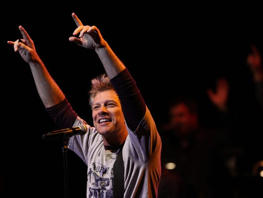 Jon Bon Jovi performs with Bobby Bandiera  during Bobby