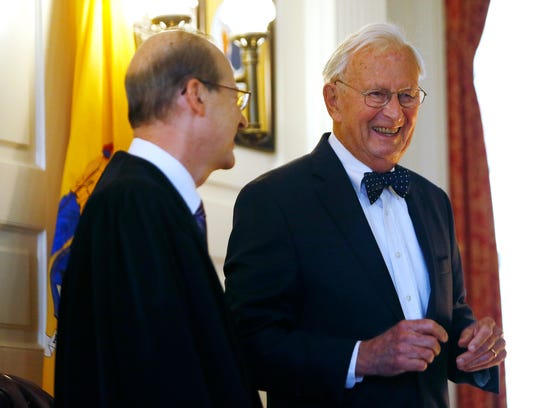 Honorable Supreme Court Justice Stewart Pollock, r,