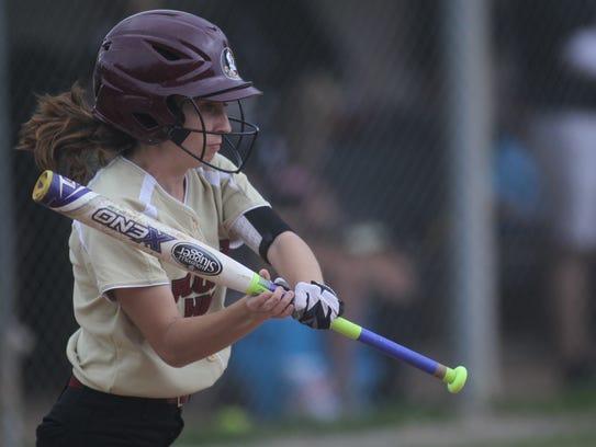 Florida High's Grace McDaniel prepares for a slap hit.