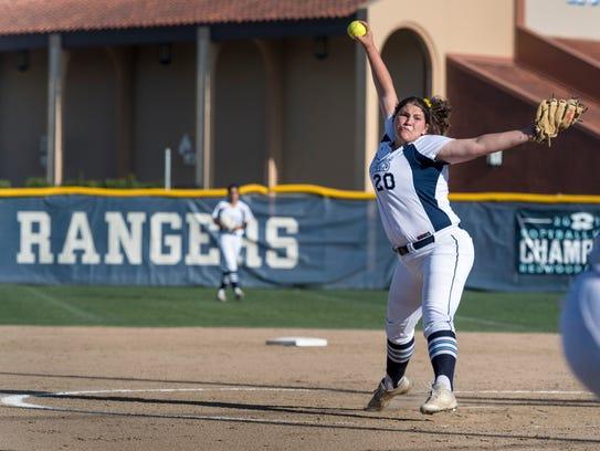 Redwood's Abigail Hillan pitches against Golden West