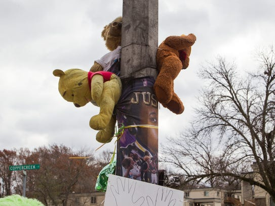 At the Michael Brown, Jr., memorial.