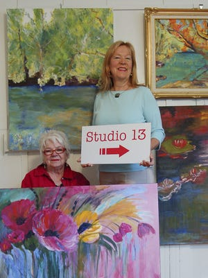 Barbara Frohmader, standing, and Susan Hanning are inviting people to visit their studio, Studio 13.