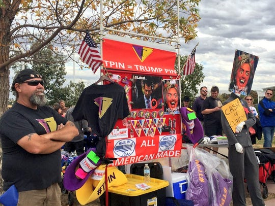 Donald Trump supporters set up outside the Trump rally