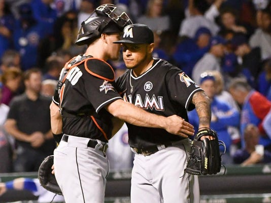 USP MLB: MIAMI MARLINS AT CHICAGO CUBS S BBN CHC MIA USA IL