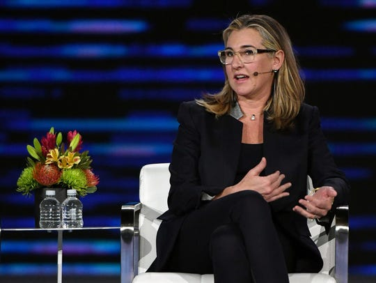 A+E Networks President and CEO Nancy Dubuc speaks during a keynote panel on the future of video at CES 2018 on January 10, 2018 in Las Vegas. Some women executives criticized CES for a lack of women giving headline addresses.