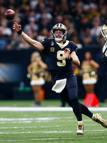 FILE - In this Dec. 23, 2018, file photo, New Orleans Saints quarterback Drew Brees (9) against the Pittsburgh Steelers in New Orleans. Drew Brees is about to play his first game at 40. It's also the biggest game he's played in nine seasons and a Super Bowl is on the line. (AP Photo/Butch Dill, File)