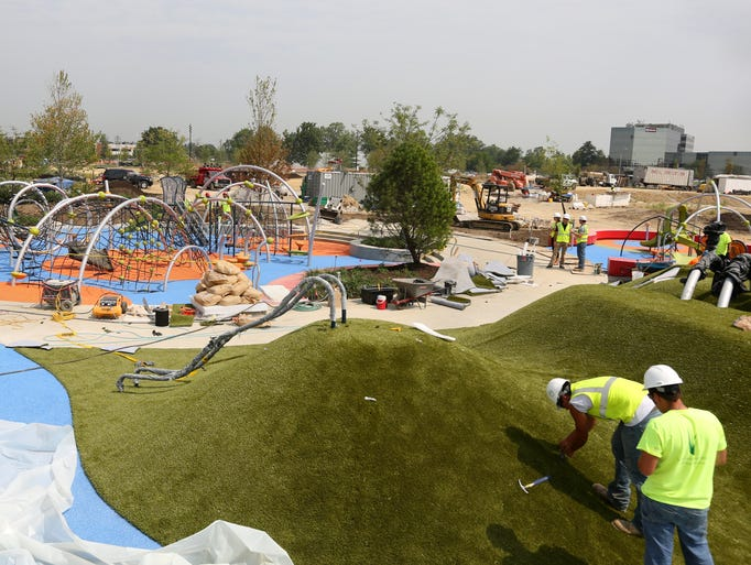 The city of Blue Ash will open Phase 1 of Summit Park on Saturday, August 9. The play mounds are made of artificial turf. There are also slides and other fun features.