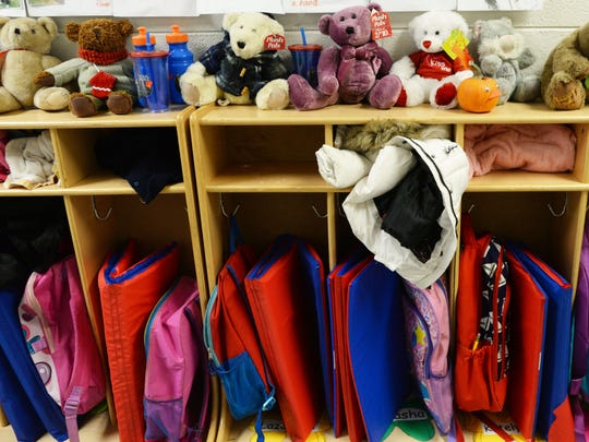 Student backpacks are seen at a preschool in Caddo