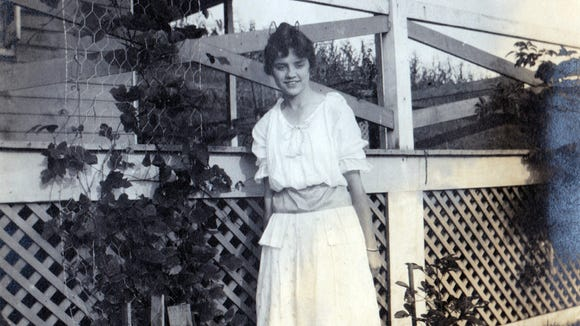 Joan (Posey) Edsell shared this photo of her mother posing in front of one of the 'rustic bungalows' at Dick's Dam in Adams County. The photo has Aug. 1914 written on it.