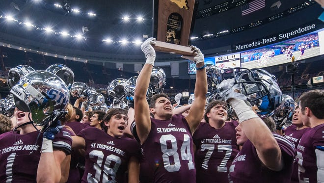 LHSAA Division II champions, the St.Thomas More Cougars in the Mercedes-Benz Super Dome on Friday December 2, 2016. ADVERTISER PHOTO BY BUDDY DELAHOUSSAYE