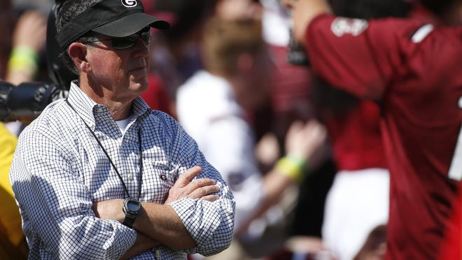 Georgia Athletic director Greg Mcgarity looks on before the start of an NCAA college football game between Georgia and South Carolina at Williams-Brice Stadium in Columbia, SC. Saturday, Sep 8, 2018.