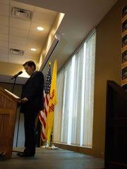 Senator Joseph Cervantes, of Las Cruces, announcing