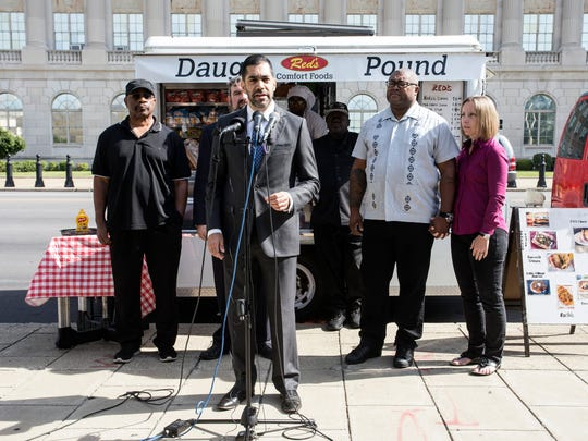 Attorney Arif Panju spoke at a press conference Wednesday morning to address a local ordinance described as unconstitutional to the city's food truck operators. 6/28/17