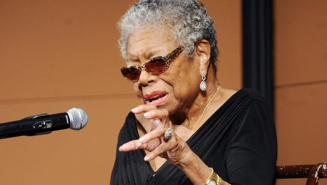 Maya Angelou spoke at Butler University's Clowes Hall to start off the school's annual Celebration of Diversity Distinguished Lecture Series Wednesday September 25, 2013. Rob Goebel/The Star.