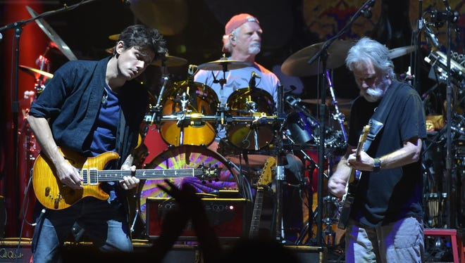 John Mayer, Bill Kreutzman and Bob Weir perform with Dead & Company on Oct. 31, 2015, at New York's Madison Square Garden.