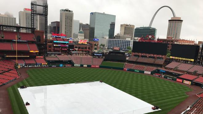 Saturday's Reds-Cardinals game at Busch Stadium was postponed due to rain.