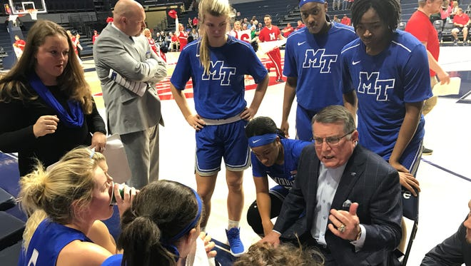 MTSU coach Rick Insell talks to his players during a timeout in the first quarter of a game against Ole Miss at The Pavilion in Oxford, Miss. on Nov. 29, 2017.