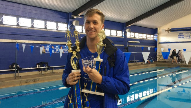 Highlands senior Garrison Herfel was most outstanding boys swimmer during the Scott Classic swimming meet Jan. 6, 2018, at Scott HS, Taylor Mill KY.
