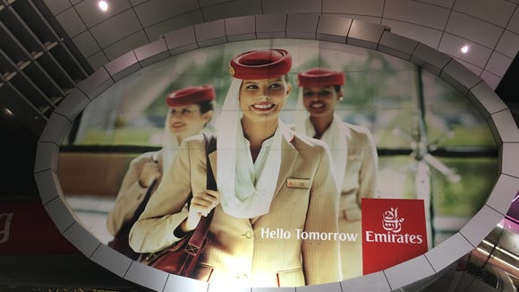 Branding for Emirates airline is seen at the Dubai