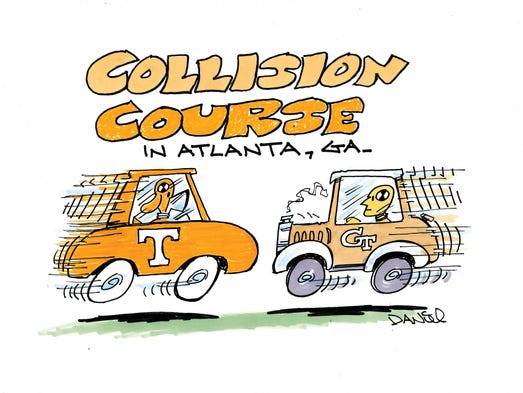 Charlie Daniel Voltoon for the Tennessee-Georgia Tech