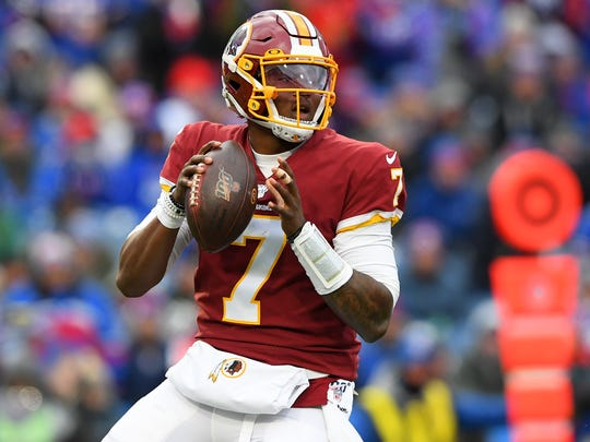 Nov 3, 2019; Orchard Park, NY, USA; Washington Redskins quarterback Dwayne Haskins (7) drops back to pass against the Buffalo Bills during the fourth quarter at New Era Field. Mandatory Credit: Rich Barnes-USA TODAY Sports